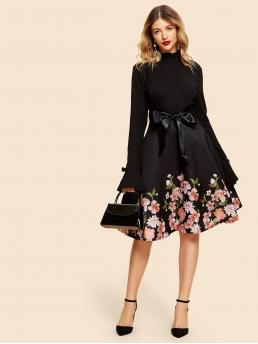 Vintage Fit and Flare Floral Regular Fit Stand Collar Long Sleeve Natural Black Midi Length 50s Floral Frill Neck Belted Flare Dress with Belt