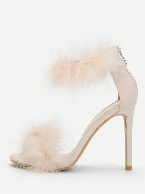 Ankle Strap Open Toe Pink High Heel Stiletto Feather Detail Two Part Stiletto Heels