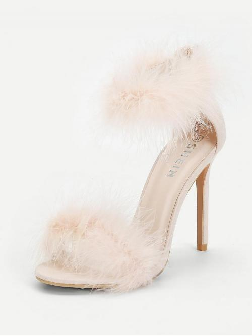Clearance Cotton Pink Court Pumps Feather Detail Two Part Heels