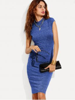 Blue Plain Bow Stand Collar Form Fitting Marled Knit Dress Trending now