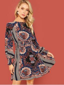Boho A Line Floral and Tribal Round Neck Long Sleeve Bishop Sleeve and Raglan Sleeve Natural Multicolor Short Length Floral Print Shirred Dress