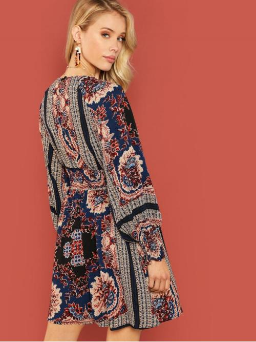 Pretty Multicolor Tribal Wrap Round Neck Floral Print Shirred Dress