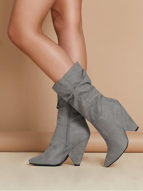Corduroy Grey Combat Boots Buckle Pointed Toe Ruched Shaft Side Zip Cone Heel Boots on Sale
