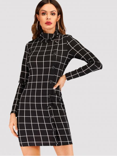 Elegant Bodycon Plaid Slim Fit High Neck Long Sleeve Natural Black Short Length Button Front Plaid Dress
