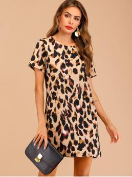 Casual Tee Leopard Straight Loose Round Neck Short Sleeve Natural Multicolor Short Length Contrast Panel Leopard Print Dress