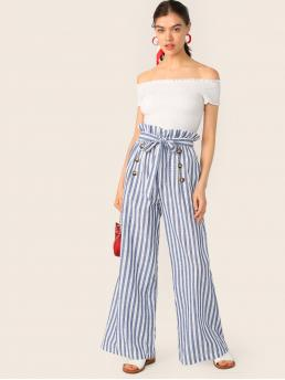 Casual Striped Wide Leg Loose Elastic Waist High Waist White and Blue Long Length Paperbag Waist Double Breasted Belted Striped Pants with Belt