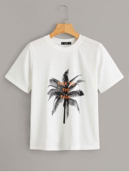 Casual Plants and Slogan Regular Fit Round Neck Short Sleeve Pullovers White Regular Length Tree And Slogan Print Tee