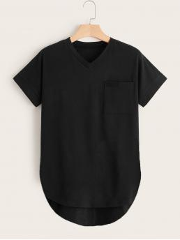 Basics Plain Regular Fit V neck Short Sleeve Black Regular Length Plus Dip Hem Pocket Tee