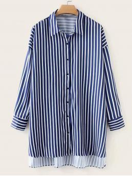 Casual Striped Shirt Oversized Collar Long Sleeve Placket Multicolor Longline Length Vertical-striped Dip Hem Oversized Boyfriend Shirt