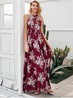 Boho A Line Floral Flared Regular Fit Halter Sleeveless High Waist Multicolor Long Length Simplee Floral Lace Insert Backless Maxi Halter Dress with Lining