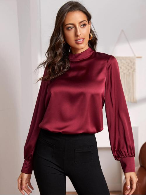 Elegant Plain Top Regular Fit Stand Collar Long Sleeve Bishop Sleeve Pullovers Burgundy Regular Length Mock-neck Lantern Sleeve Keyhole Back Satin Top