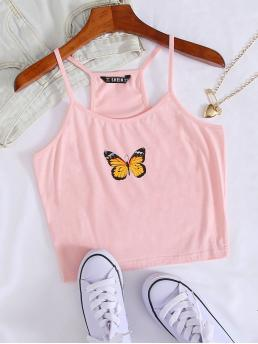 Casual Cami Animal Slim Fit Spaghetti Strap Baby Pink Crop Length Butterfly Print Crop Cami Top