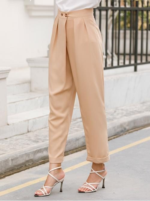 Casual Tapered/Carrot Plain Regular Button Fly Mid Waist Apricot Cropped Length Plicated Cuffed Hem Solid Pants