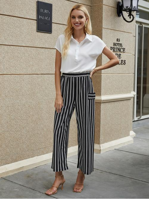 Casual Wide Leg Striped Loose Elastic Waist High Waist Black and White Cropped Length Vertical Striped High Waist Wide Leg Pants