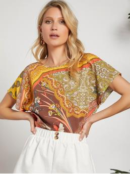 Trending now Short Sleeve Top Button Polyester Top