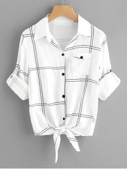 Casual Plaid Shirt Regular Fit Collar Long Sleeve Roll Up Sleeve Black and White Roll Tab Sleeve Knot Front Plaid Shirt