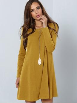 Casual Tee Plain Straight Loose Round Neck Long Sleeve Natural Yellow Short Length Solid Swing Tee Dress