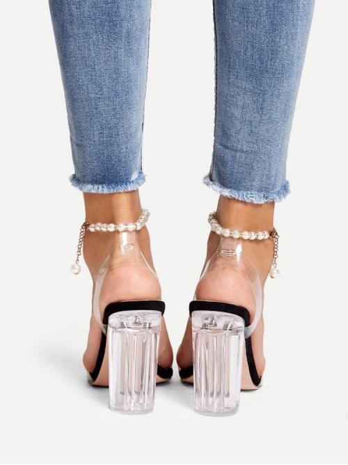 Trending now Corduroy Black Mules Pearls Faux Pearl Beaded Ankle Heels
