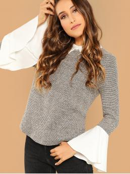 Affordable Long Sleeve Top Contrast Collar Polyester 2 in 1 Top