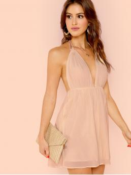 Sexy A Line Plain Flared Regular Fit Deep V Neck and Halter Sleeveless High Waist Pink and Pastel Short Length Open Back Plunging Halter Neck Slip Dress with Lining
