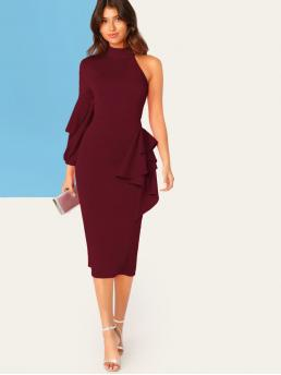 Glamorous Bodycon Plain Pencil Slim Fit Stand Collar Long Sleeve Bishop Sleeve High Waist Burgundy Long Length One Shoulder Lantern Sleeve Ruffle Trim Pencil Dress