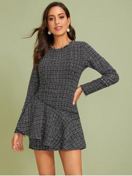 Elegant Bodycon Plain Straight Slim Fit Round Neck Long Sleeve Regular Sleeve High Waist Grey Short Length Tweed Ruffle Trim Zip Back Dress