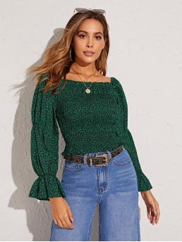 Casual Ditsy Floral Top Slim Fit Square Neck Long Sleeve Pullovers Green Crop Length Ditsy Floral Print Shirred Flounce Sleeve Blouse