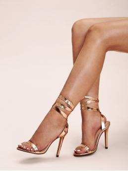 Glamorous Open Toe Plain Unisex Gold High Heel Stiletto Ankle Strap Metallic Stiletto Heels
