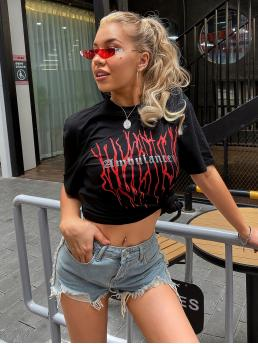 Casual Letter and Graphic Regular Fit Stand Collar Short Sleeve Regular Sleeve Pullovers White Regular Length Letter Graphic Tee