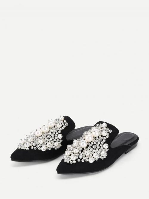 Affordable Corduroy Black Mules Embroidery Faux Pearl Decorated Flat