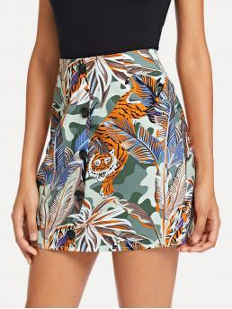 Boho A Line Tropical and Animal Mid Waist Multicolor Above Knee/Short Length Tiger And Tropical Print Button Decoration Skirt