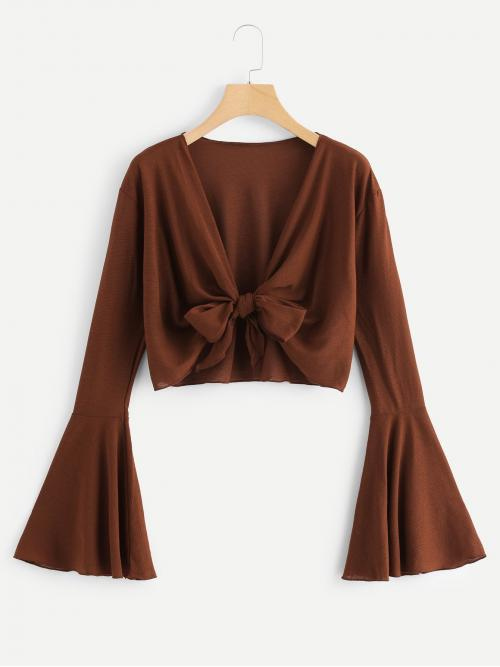 Long Sleeve Top Tie Front Cotton Knot Front Plunge Blouse Sale