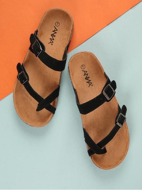 Casual Toe Post Black Faux Suede Strappy Sandals