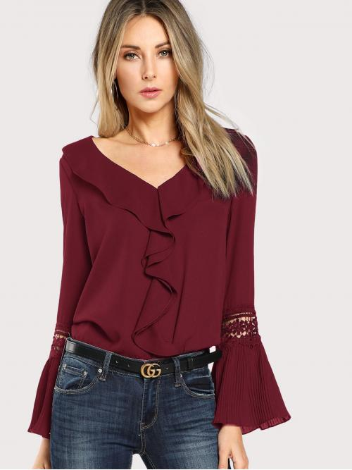 Long Sleeve Top Contrast Lace Satin Ruffle Neck Lace Insert Pleated Cuff Top Sale