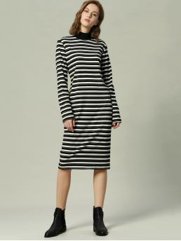 Casual Striped Straight Stand Collar Long Sleeve Regular Sleeve Natural Black and White Midi Length Striped Print Stand Collar Dress