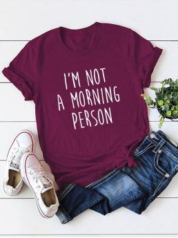 Casual Slogan Regular Fit Round Neck Short Sleeve Pullovers Burgundy Regular Length Slogan Graphic Tee