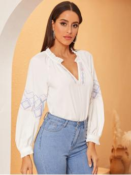 Casual Top Regular Fit V neck Long Sleeve Pullovers White Regular Length Embroidered Detail Frilled Trim Top