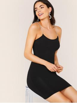 Sexy Cami Plain Slim Fit Spaghetti Strap Sleeveless Natural Black Short Length Bodycon Slip Dress With Rhinestone Strappy