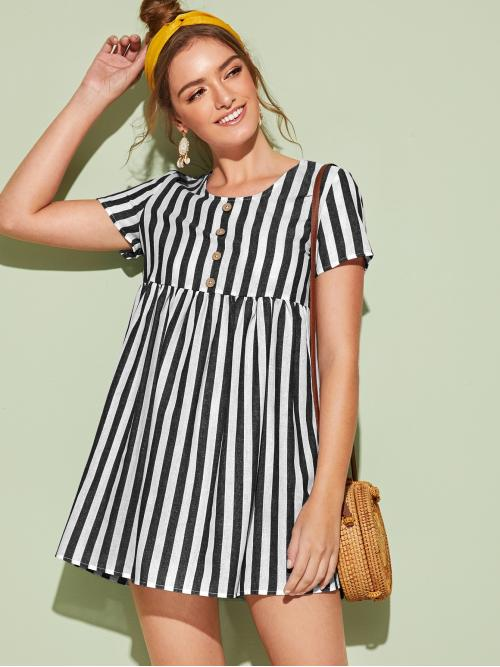 Boho Smock Striped Straight Loose Round Neck Short Sleeve Regular Sleeve High Waist Black and White Short Length Buttoned Front Striped Smock Dress