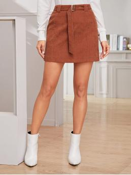 Casual Straight Plain Mid Waist Brown Above Knee/Short Length Solid Belted Sheath Corduroy Skirt with Belt
