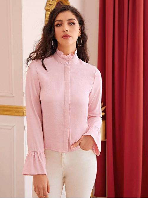 Casual Plain Shirt Regular Fit Stand Collar Long Sleeve Placket Pink Regular Length Solid Frill Neck Flounce Sleeve Blouse