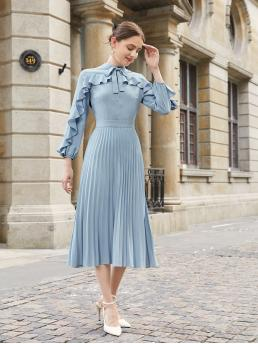 Fashion Dusty Blue Plain Button Front Stand Collar Knot Neck Ruffle Trim Hem Dress