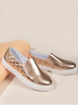 Rose Gold Slip on Low-top Pu Leather Metallic Skate Shoes Beautiful
