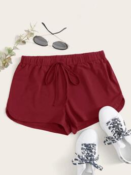 Burgundy Natural Waist Tie Front Track Shorts Dolphin Shorts on Sale