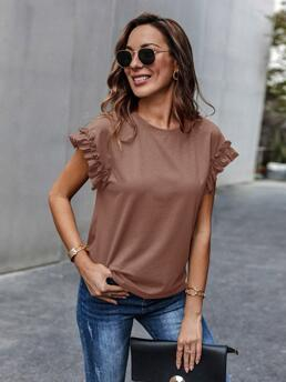 Women's Cap Sleeve Frill Polyester Plain Cuff Solid Tee