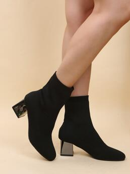 Affordable Black Fabric Rubber Polyester Minimalist Chunky Heeled Sock Boots