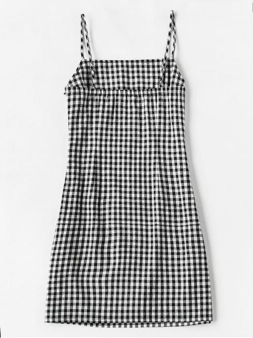 Pretty Black and White Gingham Spaghetti Strap Short Dress