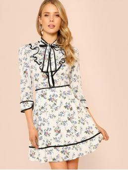 Multicolor Floral Zipper Stand Collar Flower Print Long Sleeve Peasant Dress with Ruffle Collar and Black Trim Navy White Beautiful