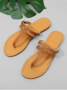 Corduroy Brown Strappy Sandals Buckle Toe Postpy Flat Sandals Discount