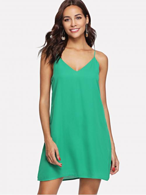 Green Plain Button Spaghetti Strap Palm Leaf Print Double V Neck Dress Discount